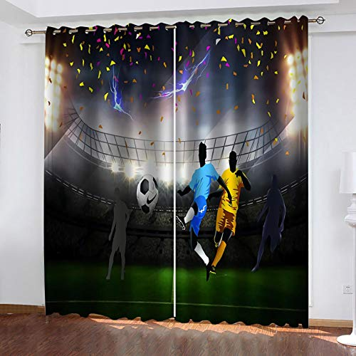 WLHRJ blackout curtains for bedroom living rooms kids kitchen window 3D Digital printing curtains eyelet - 110x63 inch - soccer player