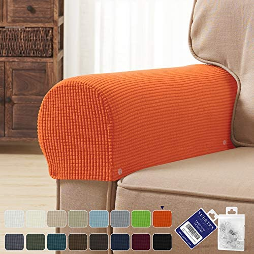 Best subrtex Spandex Stretch Fabric Armrest Covers Anti-Slip Furniture Protector Armchair Slipcovers for