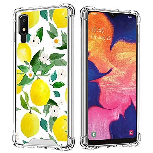 Lemon Fruits Clear Case Compatible with Samsung Galaxy A10E Hard PC Scratch-Proof Soft TPU Bumper Shock-Absorption Anti-Fall Heavy Duty Protective Transparent Wireless Cover for Women Girls
