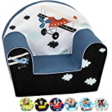DELSIT Toddler Chair & Kids Armchair - European Made Premium Quality - Perfect Reading Chair for Kids - Lightweight Playroom Decor (Midnight Plane)