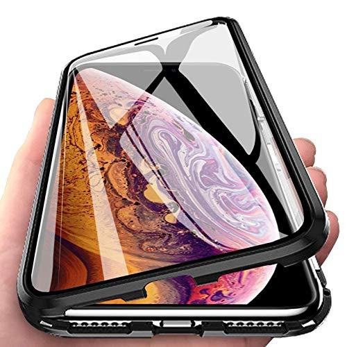 PfX Magnetische 360° Premium Hülle kompatibel mit iPhone 11 Pro aus Aluminium inklusive 9H Panzerglas - Unterstützt Kabelloses Laden (iPhone 11 Pro, Schwarz)