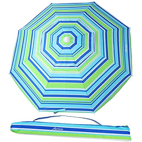 MOVTOTOP Sombrilla de Playa Sombrilla de Playa 200 cm Ancla de Arena con Poste de Aluminio inclinable y protección UV 50+, Sombrilla portátil para Exteriores con Bolsa de Transporte para Patio(azul-2)