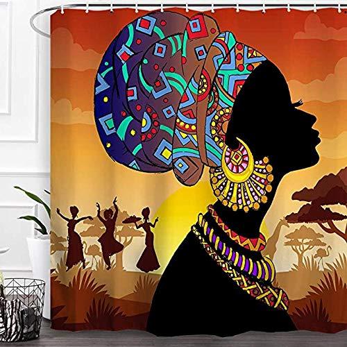 Frican Woman Cortina De Ducha Vintage Ancient Afro Black Girl Mujeres Bufanda Colorida Sunset Tree Paisaje Tela Impermeable Baño con 12 Ganchos para Mujeres