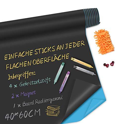 Bestdon Tafelfolie Magnetische Selbstklebend 40cm x 60cm inklusive 4 Gekritzelstift, 2 Magnet mit 1 Board Radiergummi für Zuhause und im Büro zum Schreiben, Zeichnen, Shop-Anzeige