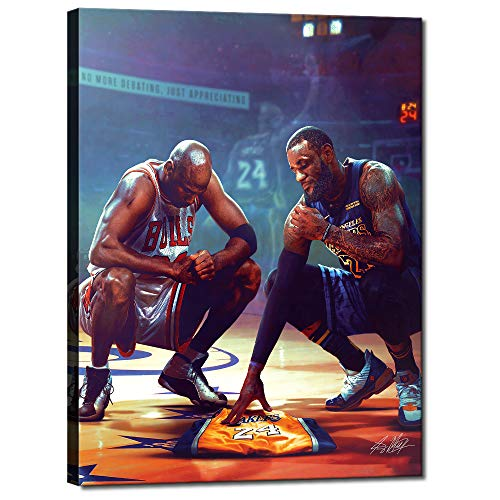 Kobe Bryant Michael Jordan Lebron James All Stars Basketball Sports Posters HD Printed Pictures Stretched and Framed Artwork Modern Home Decor Canvas Painting Wall Art Living Room [18''W x 24''H]
