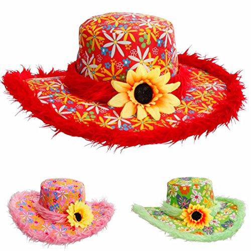 Sombrero rojo hippie de peluche con flores rojas, sombrero de peluche con girasol de los aos 70, disfraz de carnaval, fiesta de disfraces, accesorio para fiestas temticas