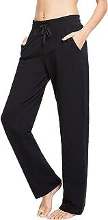 BALEAF Women's Active Yoga Sweatpants Slight Fleece Open Bottom Lounge Sweat Pants Jogger Side Pocketed