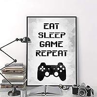 キャンバスプリントイートスリープゲームリピートボーイズルームデコレーションピクチャーゲームルームポスターゲームセンターインターネットデコラティブペインティング60x90cmフレームレス