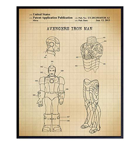 Original Superheroes Iron Man Patent Wall Art Print, Home Decor - Room Decorations and Gift for Men, Stan Lee, Superhero, Comic Book, Marvel, DC, Avengers, Justice League Fans - Kids, Boys, 8x10
