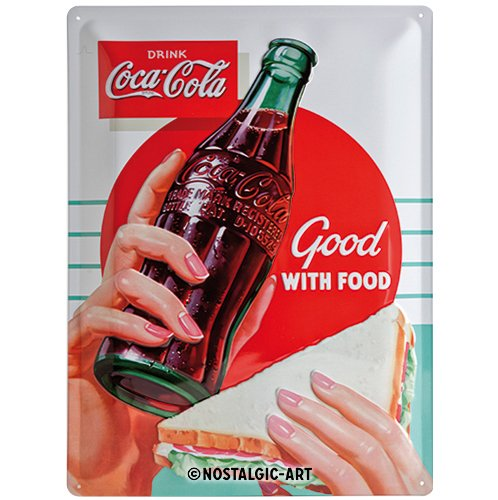 Nostalgic-Art 23234 Retro Blechschild, 30x40 cm Coca-Cola – Good with Food – Geschenk-Idee für Coke-Fans, aus Metall, Vintage-Design zur Dekoration, 30 x 40 cm