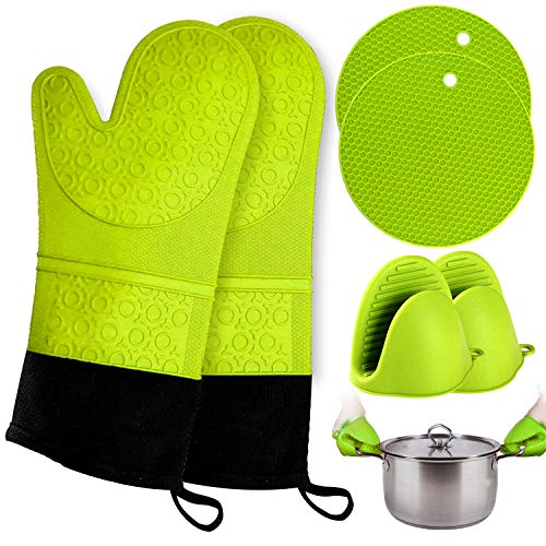 Oven Mitts and Pot Holder- Extra Long Silicone Oven Mitt Heat Resistant with 2 trivets & Mini Pinch Oven Mitts-Food Safe Baking Gloves for Cooking in Kitchen with Soft Inner Lining Product Name