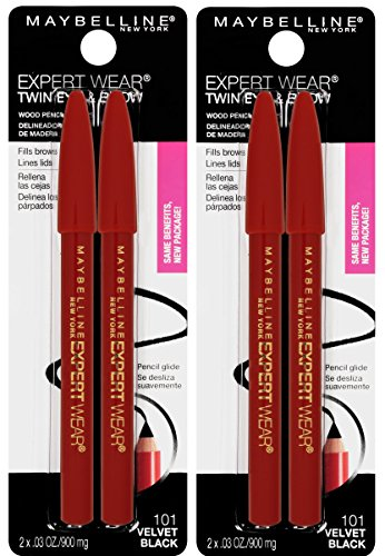 Maybelline New York Expert Wear Twin Brow & Eye Pencils Makeup, Velvet Black, 2 Count Twin (total 4 pencils ), 2 Count (Pack of 2)