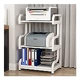 Soporte de Impresora Soporte de la impresora de pie, Organizador de soporte de impresora de escritorio con marco de metal 3 niveles, para máquina de fax, escáner, archivos Rack de Almacenamiento para