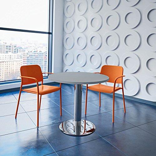 WeberBÜRO Optima runder Besprechungstisch Ø 80 cm Lichtgrau Verchromtes Gestell Tisch Esstisch