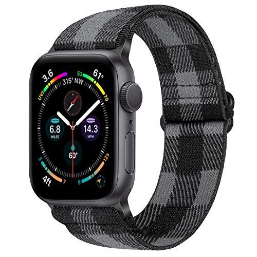 Vodtian, cinturino elastico regolabile per Apple Watch 42 mm 44 mm, in nylon Loop Sport di ricambio per iWatch serie 6/5/4/3/2/1, SE (42 mm/44 mm, nero grigio)