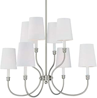 Langdon Mills 10510 Moulin 8-Light Chandelier, Polished Nickel with White Linen Shades