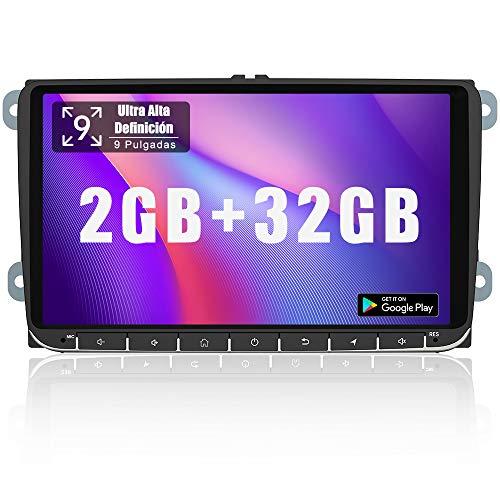 AWESAFE Android 10.0 [2GB+32GB] 9 Pulgadas Radio Coche con Pantalla 2 DIN para VW, Autoradio para VW con WiFi/GPS/Bluetooth/RDS/USB/FM AM/SD, Admite Mandos del Volante y Aparcamiento
