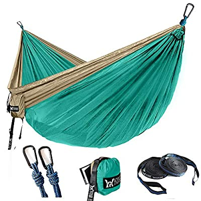 "WINNER OUTFITTERS Double Camping Hammock - Lightweight Nylon Portable Hammock, Best Parachute Double Hammock for Backpacking, Camping, Travel, Beach, Yard. 118""(L) x 78""(W) Khaki/Olive"