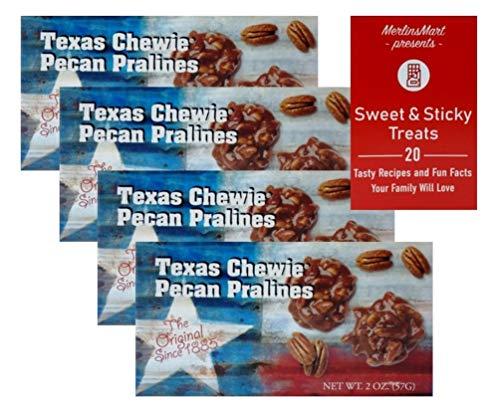 Lammes Candies Gourmet Caramel Pecan Pralines Gift Box | Buttery Texas Pralines Caramel Candy Clusters | Texas Flag Souvenir (4 Pack - 2 ounces each) Plus Recipe Booklet Bundle