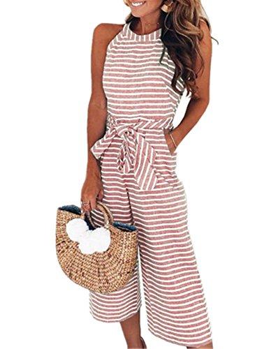SELUXU Damen Ärmellos Jumpsuit Striped Waist Breites Bein Overalls Mit Gürtel Sommer Casual Hohe Taille Rompers S-XL