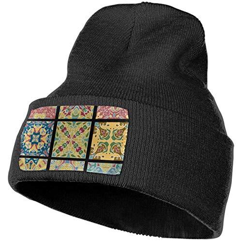 AEMAPE Azulejos de cerámica para vino marroquí vintage invierno gorro de punto suave gorro cálido gorro de punto para hombres mujeres calavera gorra