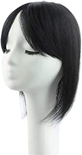"""Bangs Extension Human Hairpiece Clip in Topper Crown Wiglet Straight for Women Covering Grey Hair 12"""" Dark Brown"""