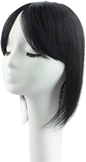 "Bangs Extension Human Hairpiece Clip in Topper Crown Wiglet Straight for Women Covering Grey Hair 12"" Dark Brown"