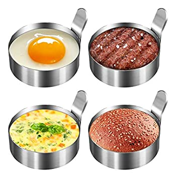 Koicaxy Egg Ring 304 Stainless Steel Egg Mold with Heat Resistant Mitts Potholder Cooking Rings Egg Pancake Shaper Non Stick Fried Egg Rings For Egg McMuffins Omelet Biscuits Egg Cooker Rings 4 Pack