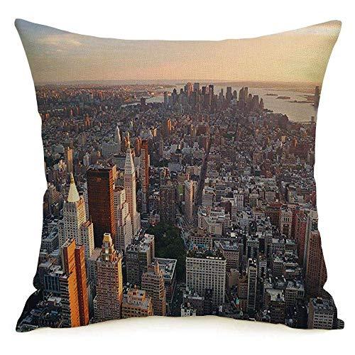Lino Decorativo Cuadrado Throw Pillow Cover Case Turismo EE. UU. Nueva York Calle Manhattan Oficina Midtown Sunset Skyline Design Apartamento Exterior Funda de Almohada Cojín Funda para sofá