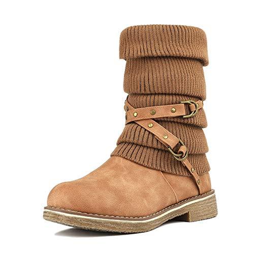 DREAM PAIRS Women's Oussie Camel Mid Calf Faux Fur Winter Boots Size 8 B(M) US
