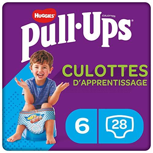 Huggies Pull-Ups, Culottes d apprentissage pour garçon, Taille 2-4 ans (15-23 kg), 28 culottes, Avec indicateur d'humidité et technologie absorbante innovante