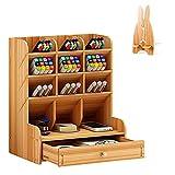 Estantería de escritorio de madera - Portabolígrafos - Multifuncional - Oganizador de papelería con soporte para teléfono móvil, color Originale