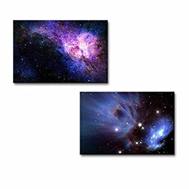 Wall26 Canvas Prints Wall Art - Starry Deep Outer Space Nebual and Galaxy | Modern Wall Decor/ Home Decoration Stretched Gallery Canvas Wrap Giclee Print& Ready to Hang - 16 x24  x 2 Panels