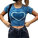 Y2k - Camiseta de manga corta para mujer, diseño de Kawaii, cuello redondo, para verano, casual, para mujer, azul, L
