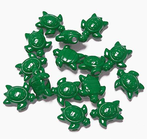 Beads - Jewelry Making - Beading - DIY Crafting 25 Green Sea Turtles Shape Pony Church School Kids Crafts