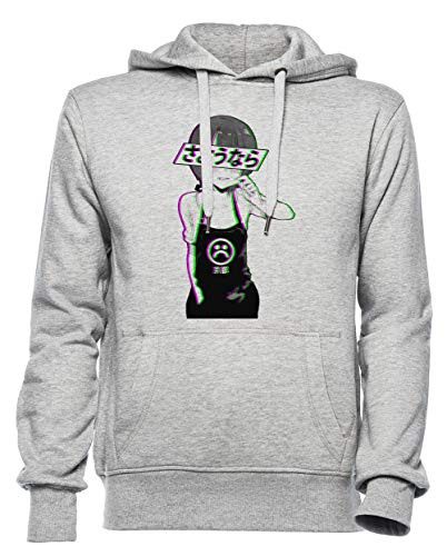 Vaarwel - Verdrietig Japans Aesthetisch Dames Mannen Unisex Capuchon Sweatshirt Grijs Women's Men's Unisex Hoodie Sweatshirt Grey