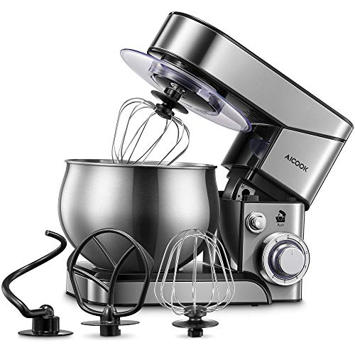 Stand Mixer AICOOK, Stainless Steel Mixer with Dough Hook, Mixing Beater, Wire Whip, Dishwasher-safe, 6-Speed Tilt-Head Kitchen Dough Mixers for Cake, 5.8 QT Electric Home Cooking Kitchen Mixer