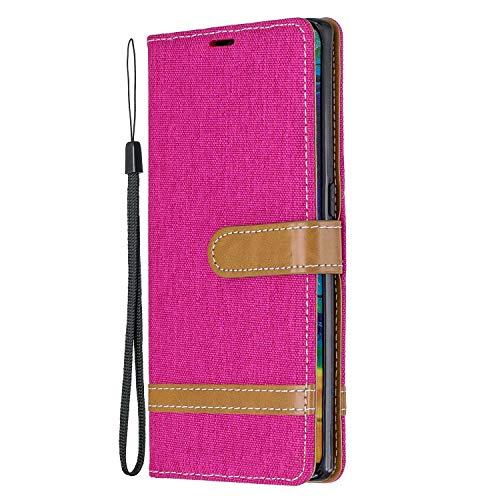 Hülle für [Huawei Mate 30 Pro] Hülle Handyhülle [Standfunktion] [Kartenfach] [Magnetverschluss] Schutzhülle lederhülle flip case für Huawei Mate30 Pro - DEBF030638 Rosa Rot