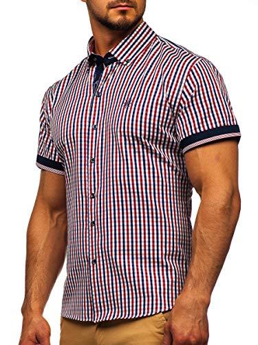 BOLF Herren Hemd Langarm Kariert Trachtenhemd Karo-Look Vichy-Muster Casual Style Freizeit Klassiker 4510 Rot M [2B2]