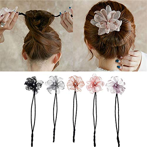 Anbibo Magic Hair Bun Maker,5pcs Pearl Flower Donuts Twist Headband French Bud Headwear DIY Hairstyle Tool (1A)
