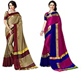 Art Décor Sarees Women's Cotton Silk Saree (Chiku Red & Yellow Green_Pack of 2)