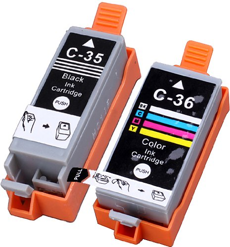 Blake Printing Supply 2 Pack Compatible CLI-36 PGI-35 Tri Color & Black for PIXMA iP100l, PIXMA mini260, PIXMA mini320, RFB IP100. Ink Cartridges. CLI-36-C / 1511B002, PGI-35-BK / 1509B002