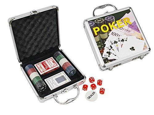 Set da Poker in Valigetta 100 fiches con Valore in Euro e 2 mazzi di Carte Gioco Texas Hold'em con gettone Dealer e 5 Dadi A103