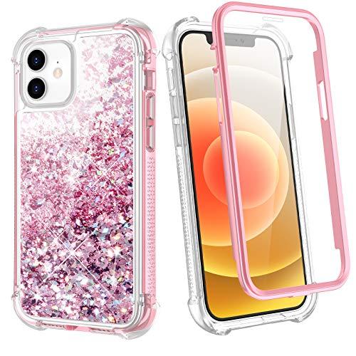 wlooo Funda para iPhone 12/iPhone 12 Pro, Glitter liquida Cristal Silicona Cuerpo Completo Protector TPU Bumper Case Brillante Arena Movediza Chicas Carcasa con Protector de Pantalla (Oro Rosa)