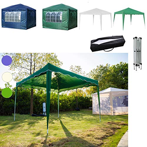 Pop Up Gazebo 3x3M Waterproof Marquee Tent For Outdoor Wedding Garden Folding Party Tent, With Carry Bag, With No Sides Sidewalls, Green