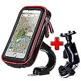 ICOOM Support Téléphone Moto Universel Réglable Double Fixation Guidon Scooter, Vélo, Bicyclette, Cyclisme avec Étui Étanche pour GPS, Smartphone Iphone, Samsung (V4-XL, Rouge)