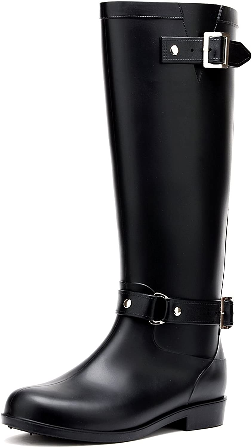 Odema Women's Waterproof Solid Tall shoes Knee High Zip Adjustable Rain Boot