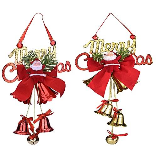 MingZhuInC Campanas de Navidad para colgar, 2 unidades, colgante de árbol de Navidad con lazo de Papá Noel decoración de Navidad para pared, puerta, ventanas y chimenea