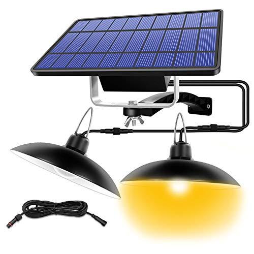 XINRISHENG Doppel-Kopf-Solar Anhänger Outdoor Indoor-Solarlicht für Camping Home-Garten-Yard mit Draht warmen Weiß/Weiß Beleuchtung