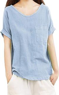 TIFIY Maglietta Casual da Donna Top o-Collo Manica Corta Camicia di Lino Cotone Tascabile